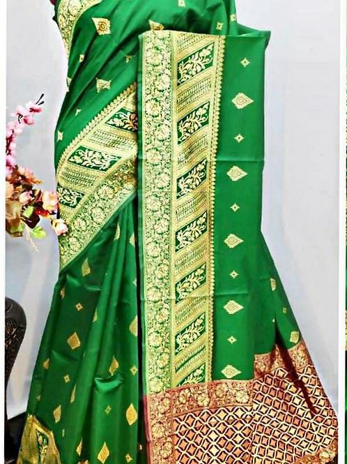 BHARATHI - Banarasi Soft Silk Saree Green