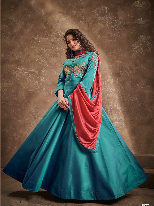 APSARA - Beautiful Silk Heavy Embroidery Green Gown