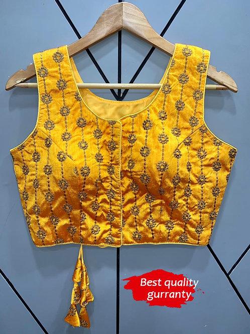 Designer Embroidery Fantom Silk Yellow Blouse
