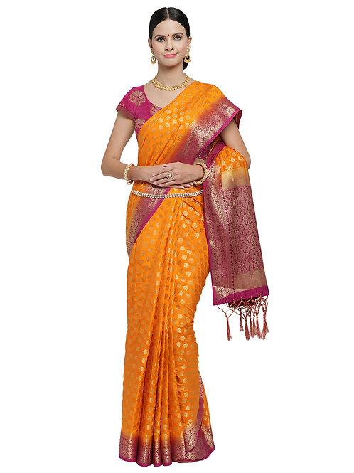 Tradition Kanchipuram Raw Silk Deep Yellow Silk Saree