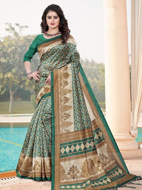 Stardom Mysore Silk Green Saree v3