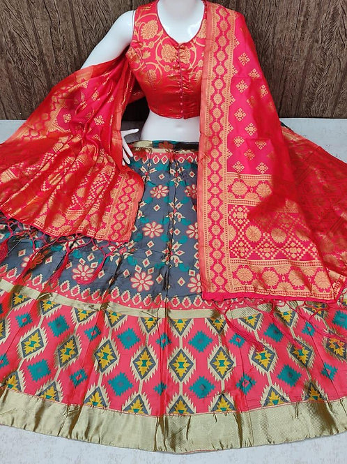 Stunning Banarasi Silky Blue Lehenga