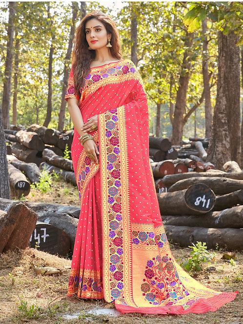 AARSHI - Pure Paithani Silk Pink Saree