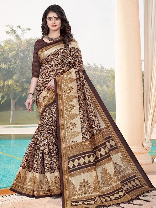 Stardom Mysore Silk Brown Saree v3