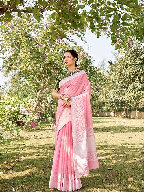 Linen Saree Lucknowi Border Pink Saree