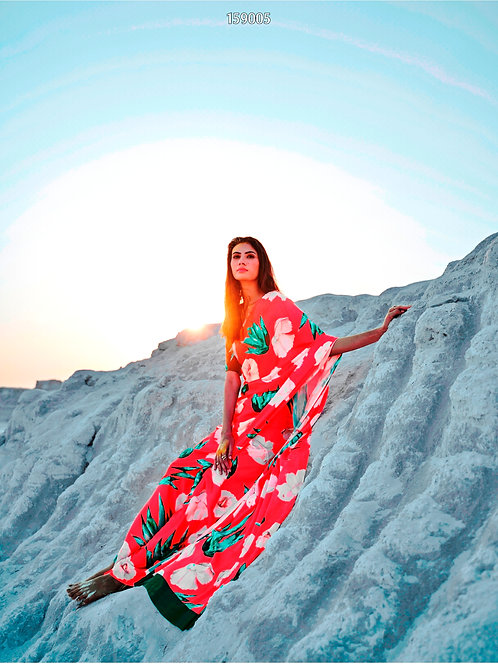 KASA Digital Sun Shine Collection Pink Sky Saree 159005