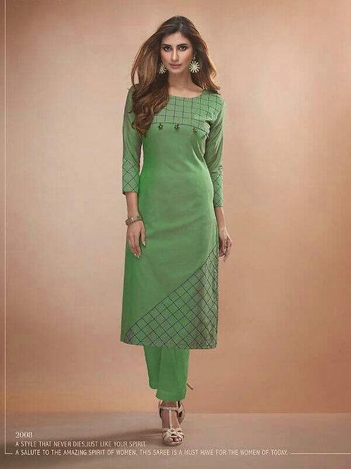 CLAIRE - Viscos Silk L.Green Kurti (Only Kurti)