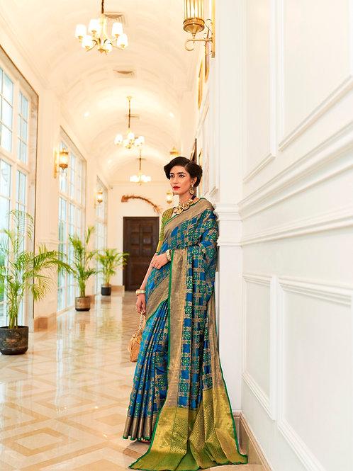 Kimisha Excellency Royal Blue Banarasi Silk Saree