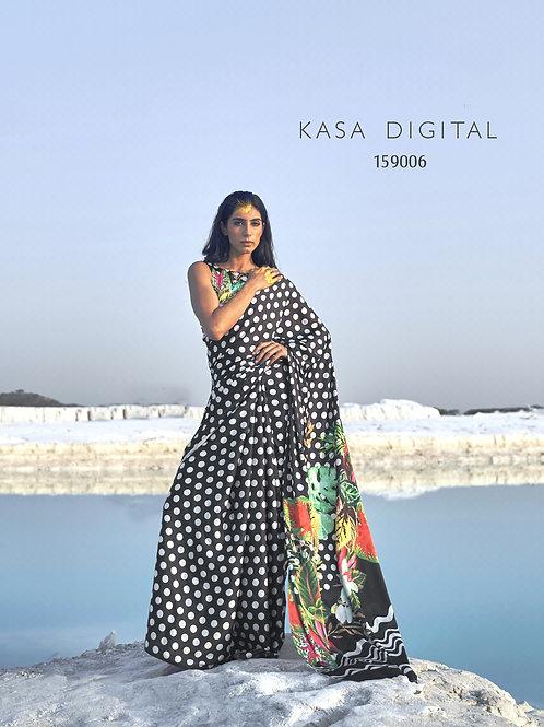KASA Digital Sun Shine Collection Digital Black Saree 159006