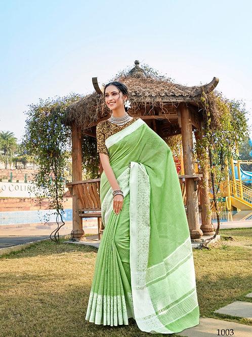 Linen Saree Lucknowi Border Green Saree
