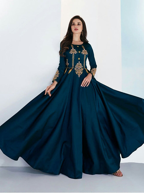 SHANVI - Beautiful Embroidered P.Blue Gown