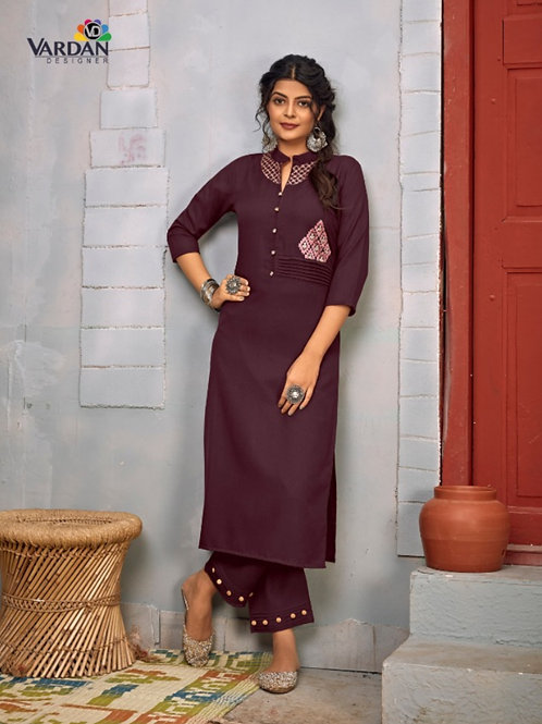 Summer Designer Collection Heavy Rayon Maroon Kurti with Pant