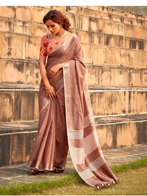Abhirupi Soft Linen Khadi Silk Brown Saree