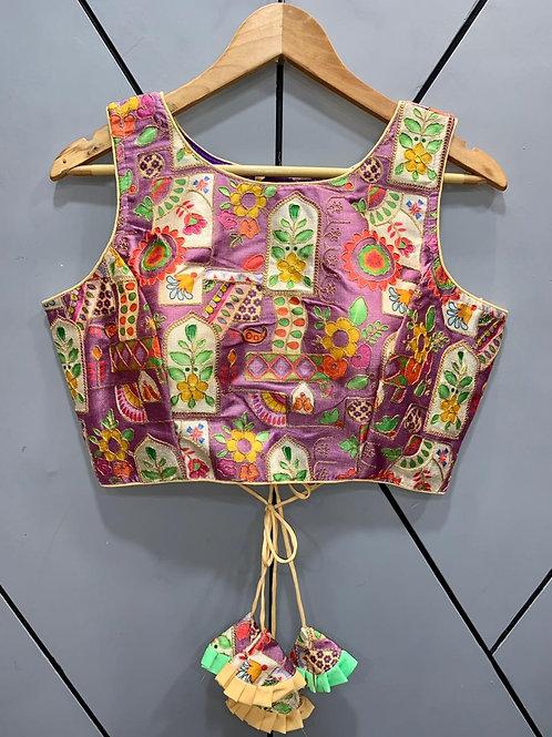Floral Digital Designer Thread Work Blouse 12