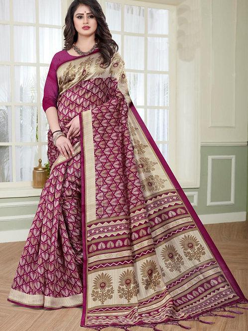 Stardom Mysore Silk Magenta Saree v2