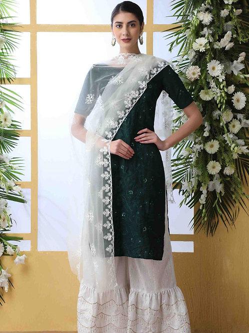 Flory Fabulous Green Sharara Suit with Dupatta