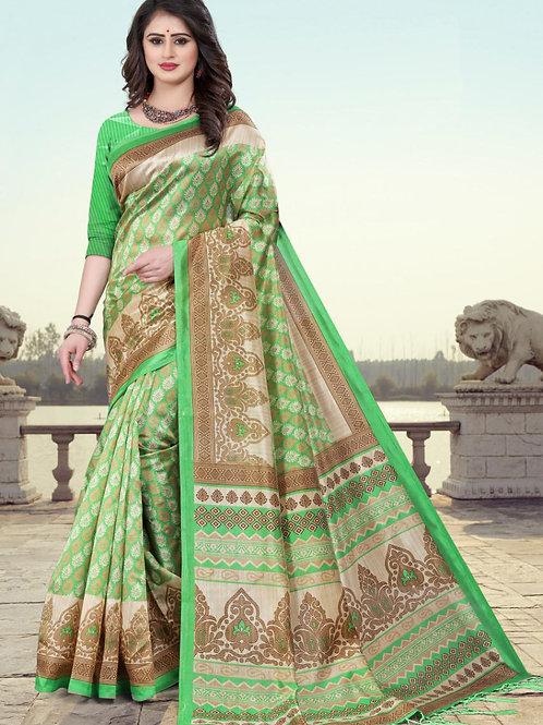 Stardom Mysore Silk Green Saree