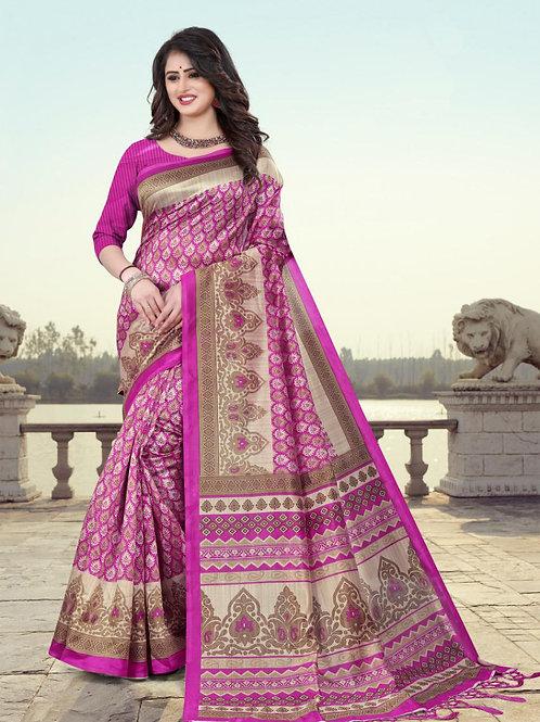 Stardom Mysore Silk Magenta Saree