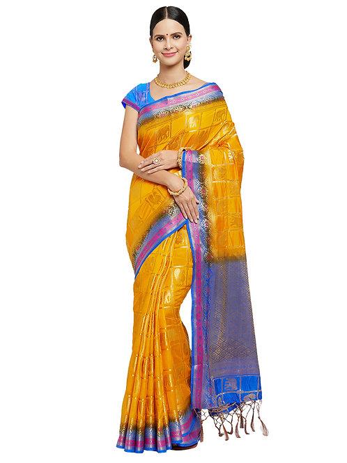 Tradition Kanchipuram Raw Silk Yellow Silk Saree