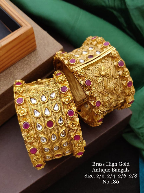Brass High Gold Antique Bengles Broad Patla Style No 180