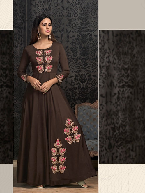 NAVYA - Beautiful Heavy Embroideried Gown (Brown)