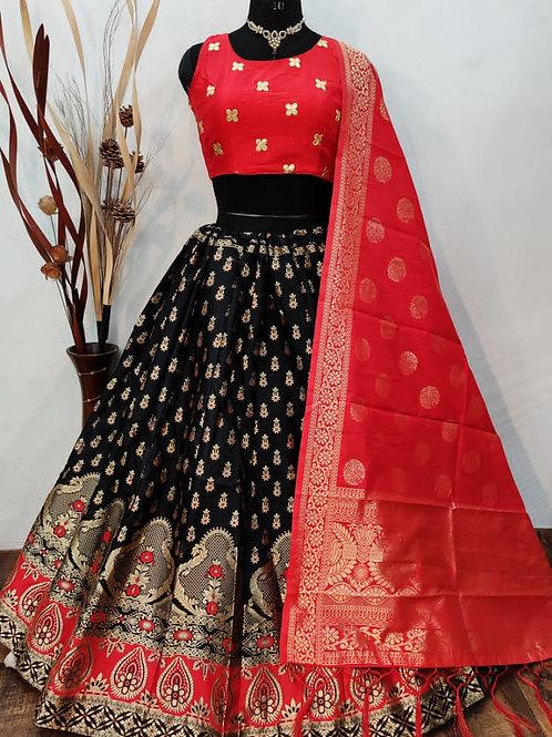 Gorgeous Banarasi Black Lehenga