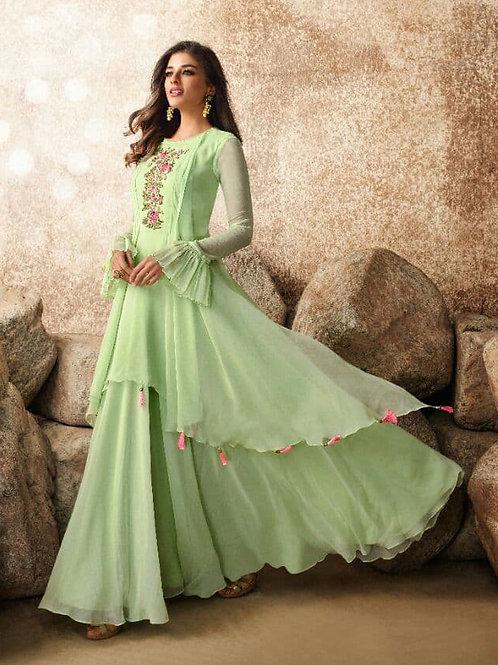 Legacy of Stylish Green Heavy Fox Georgette Gown