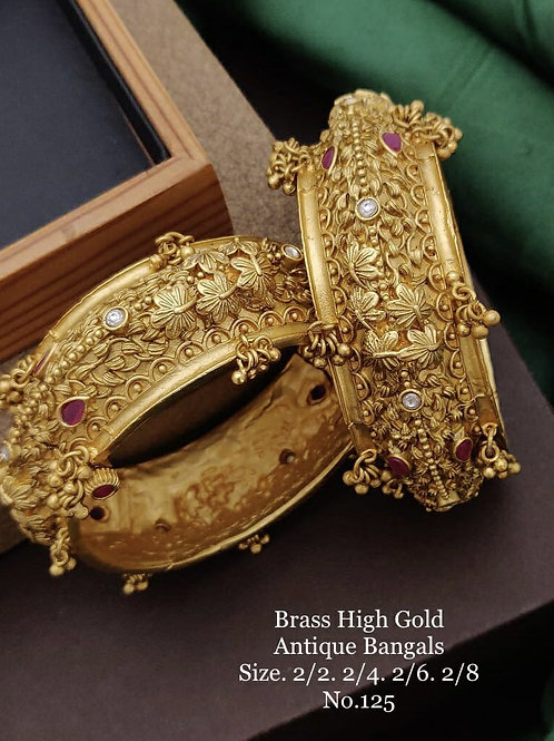 Brass High Gold Antique Bengles No 125