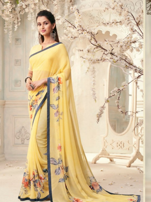 AASHI - Fresh Yellow Georgette Saree with Lace