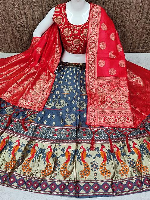 Striking Banarasi Silky Blue Lehenga