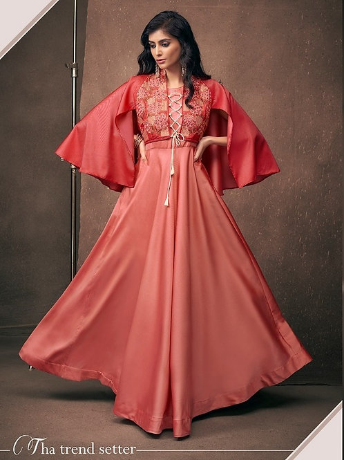 Blossom Neon Red Partywear Vtriva Satin Gown With Embroidery Work - D.No 1201