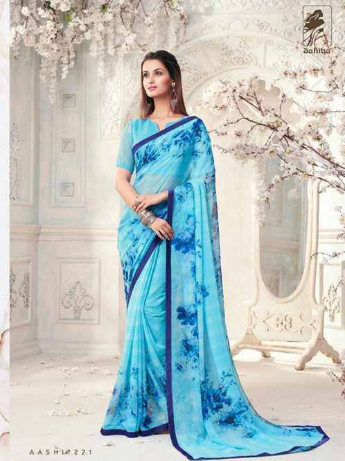AASHI - Sky Blue Georgette Saree with Lace