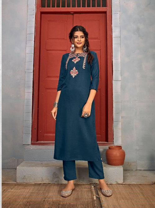Summer Designer Collection Heavy Rayon Blue Kurti with Pant