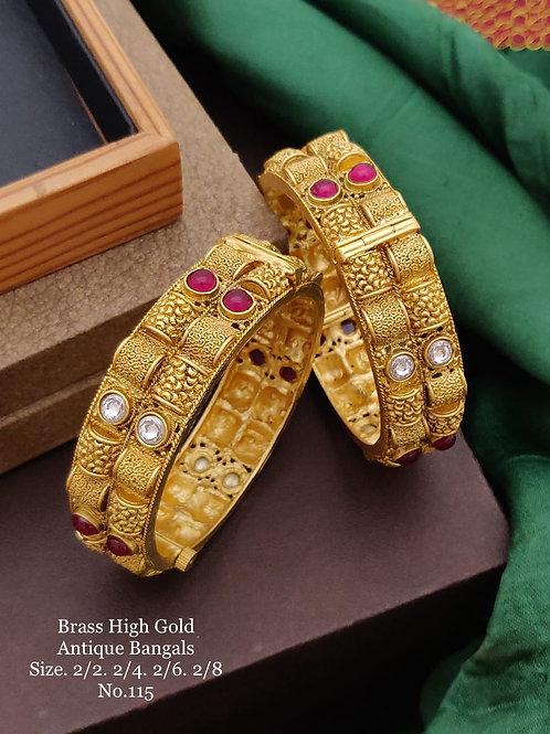 Brass High Gold Antique Bengles No 115
