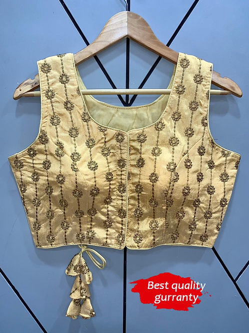 Designer Embroidery Fantom Silk Cream Blouse