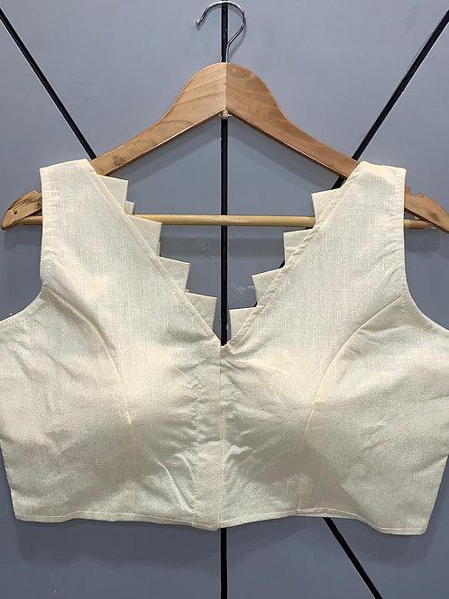 Designer Fantom Silk Step Cut White Blouse