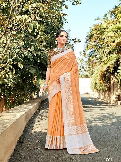 Linen Saree Lucknowi Border Orange Saree