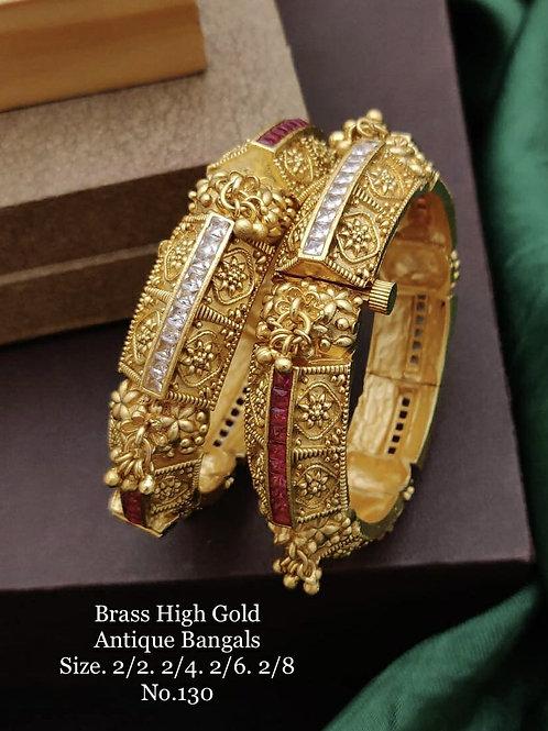 Brass High Gold Antique Bengles Sqr Stone No 130
