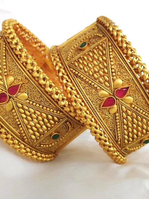 Brass High Gold Matt Kandan Bangle D5N68