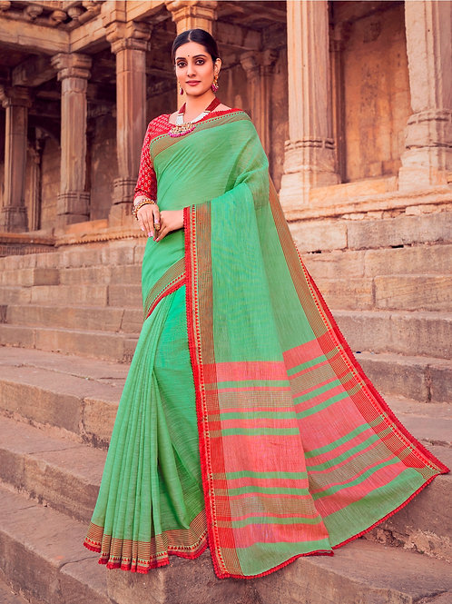 SOFT LINEN PISTA GREEN SAREE WITH BEAUTIFUL BLOUSE + WEAVING LACE