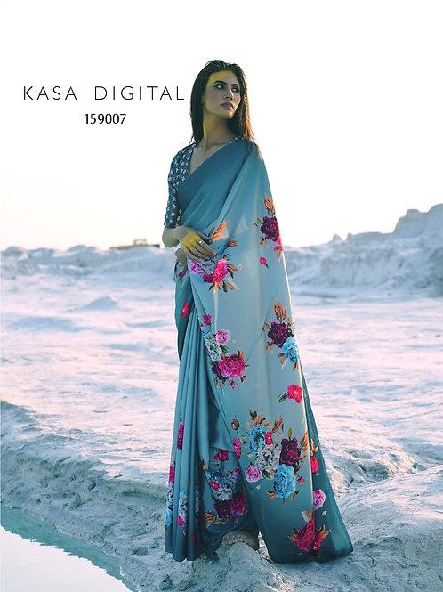 KASA Digital Sun Shine Collection Saree Blue Moon 159007