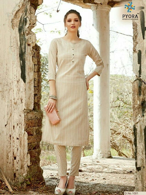 PYORA - Handloom Cotton Khakhi Kurti with Pants
