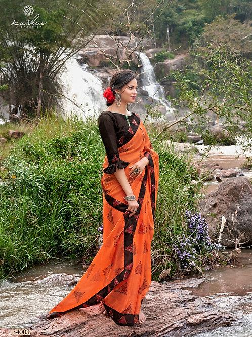 KASHVI - Fantastic Orange Chiffon Saree