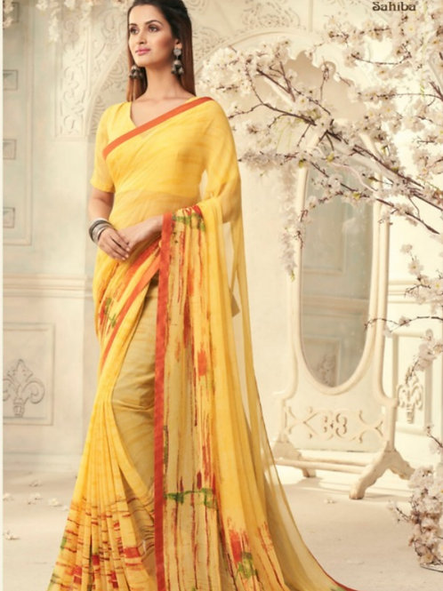 AASHI - Yellow Georgette Saree with Lace