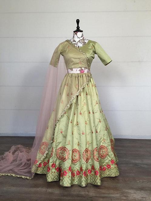 Beautiful Embroidered Lehenga Choli Set Pista Green
