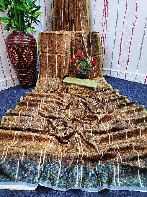 Digital Print Cotton Linen Saree -04