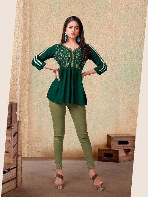 Fabulous Heavy Rayon Trendy Green Short Kurti
