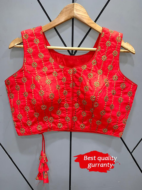 Designer Embroidery Fantom Silk Red Blouse
