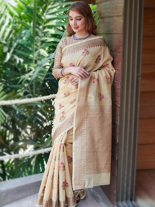 RUCHI -  Khakhi Soft Linen Saree