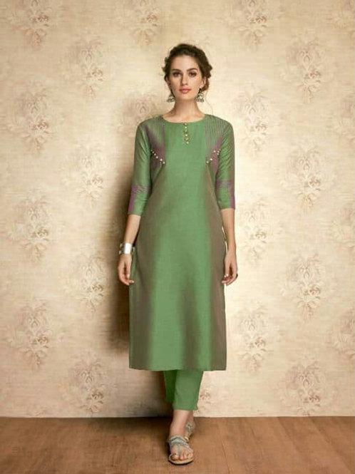 SOUL Collection - Moon Green Silk Kurti (Only Kurti)